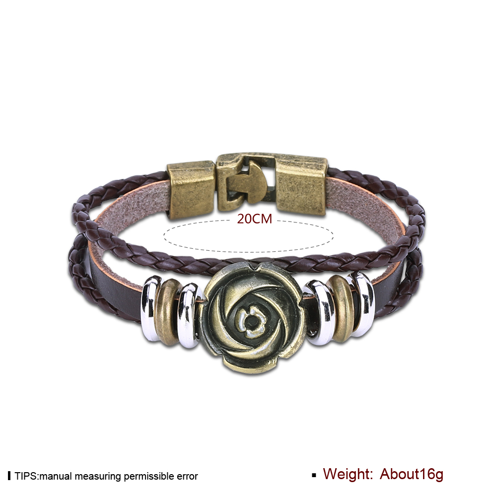 Europe and the United States punk wind retro weaving cowhide rose bracelet FSH310 NHKL11293