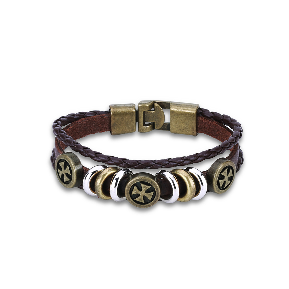 Europe and the United States punk wind complex woven cowhide cross bracelet FSH311 NHKL11294