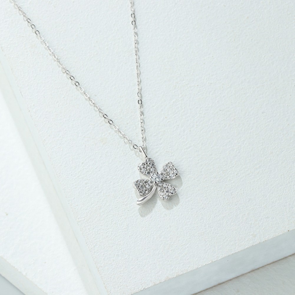 S925 Sterling Silver Four Leaf diamond necklace NHKL327541