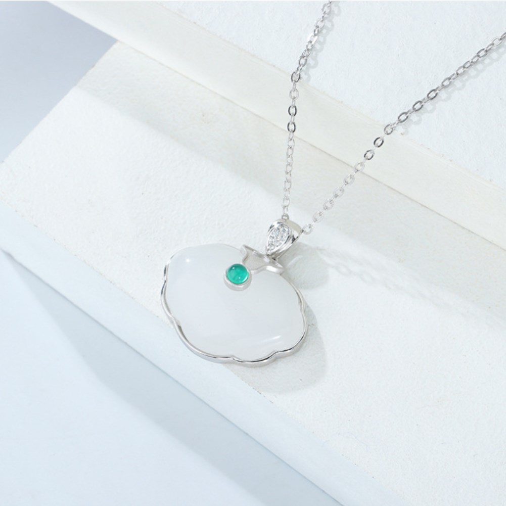 S925 Sterling Silver retro synthetic white jade pith necklace NHKL327538