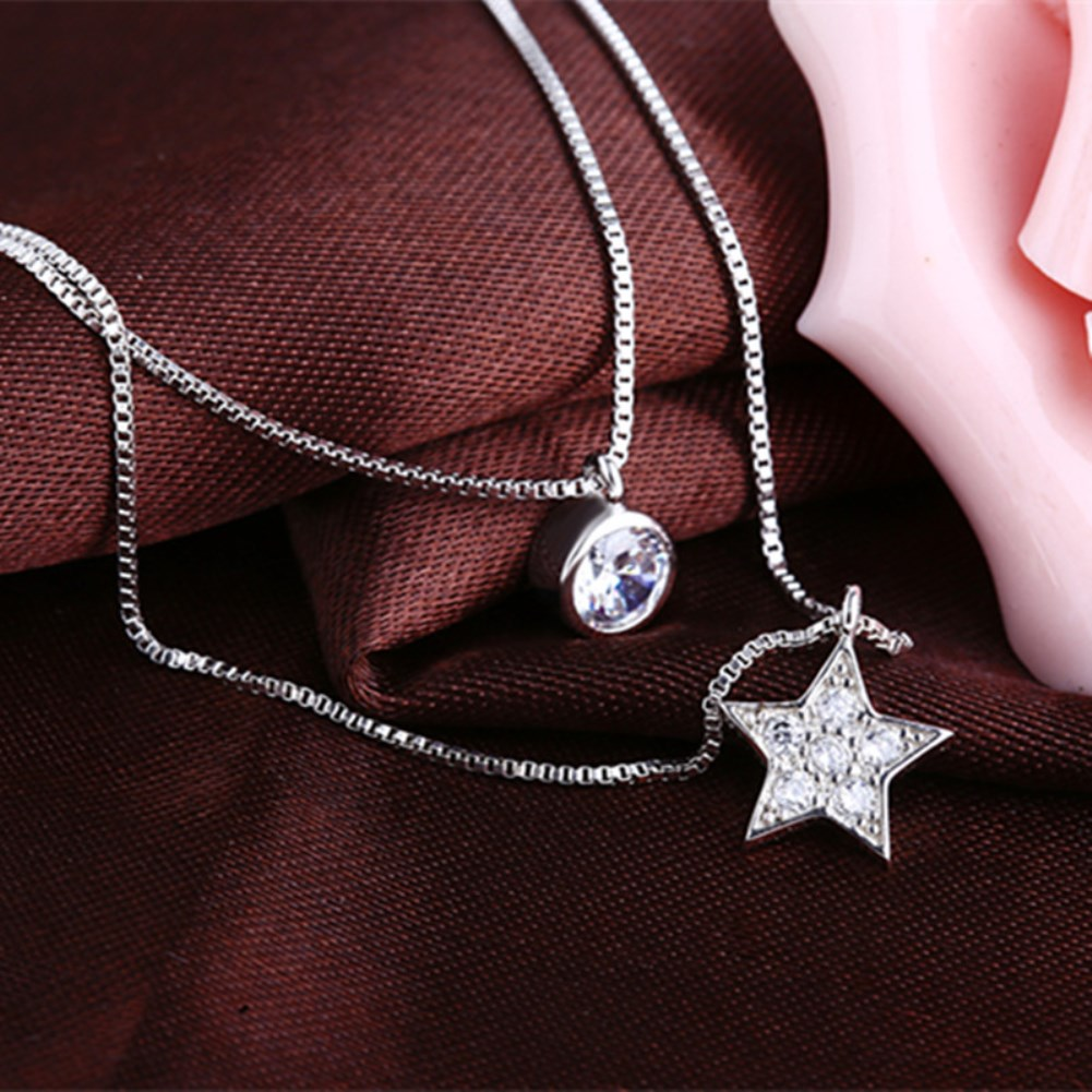S925 sterling silver five pointed star round diamond double layer Necklace NHKL330934