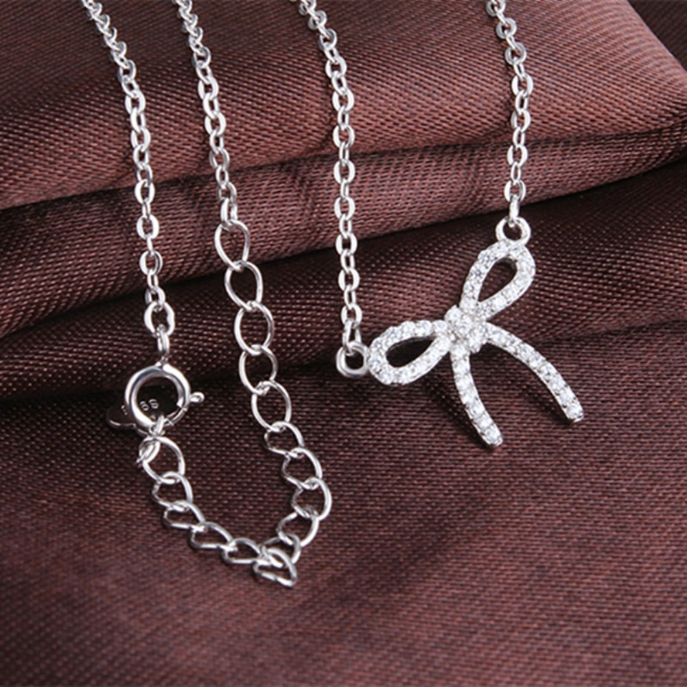 S925 Sterling Silver fashion bow Zircon Pendant necklace NHKL330939