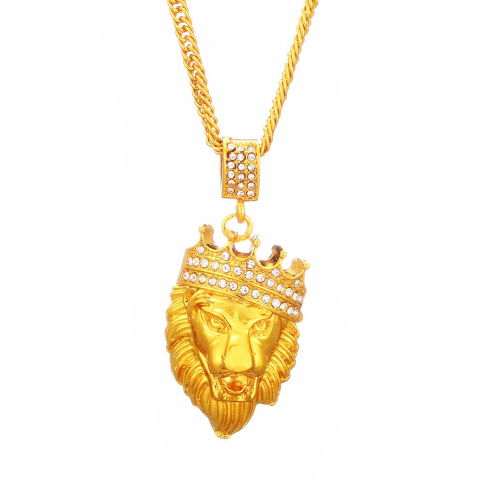 new fashion style crown lion head hip hop necklace NHKL356527