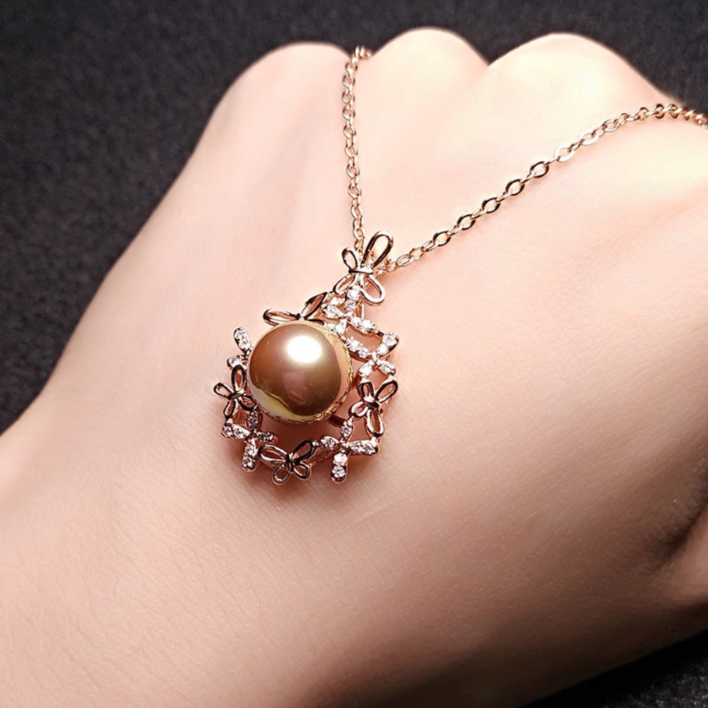simple style butterfly flower cluster pearl necklace NHKL354023